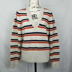 Madewell Coziest Yarn VNeck Sweater Striped Size L